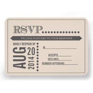 Modern Script Beige Grey Wedding RSVP Invites