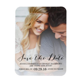 Modern Script | Custom Photo Save The Date Magnet