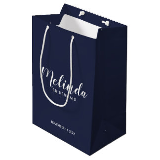 Modern Script Navy Blue Personalized Bridesmaids Medium Gift Bag