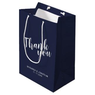 Modern Script Navy Blue Wedding Favor Medium Gift Bag
