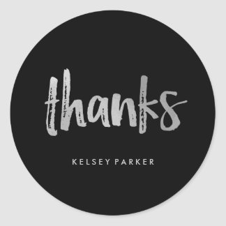 Modern Script Silver and Black Thank You Classic Round Sticker