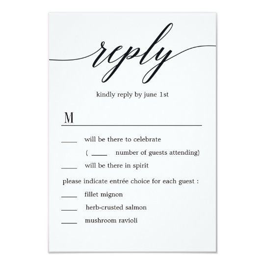 Modern Script Wedding RSVP with Menu Options Card