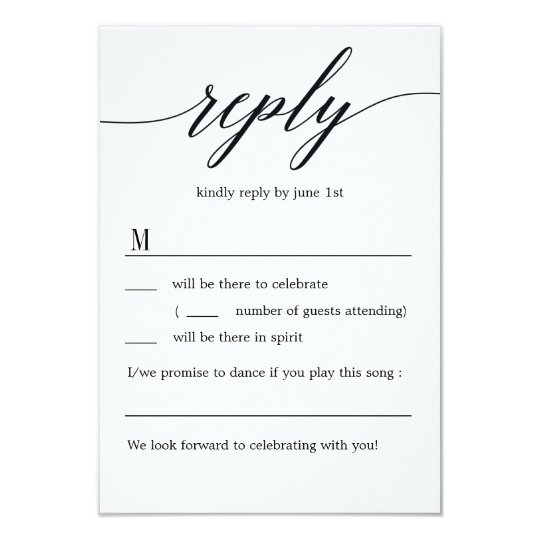 Modern Script Wedding RSVP Without Menu Options Card