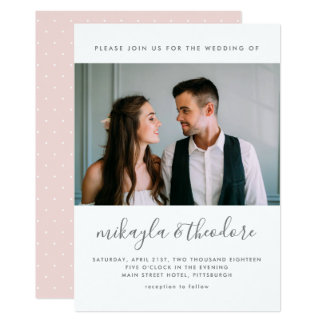 Modern Script with Dots and Photo Blush Wedding Card