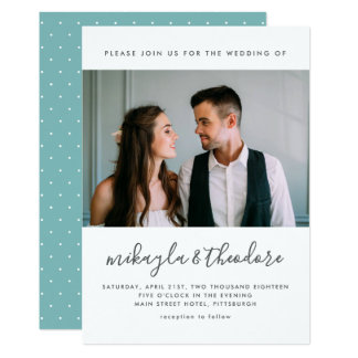 Modern Script with Dots and Photo Wedding Card
