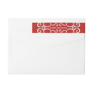 Modern Scrolls Holidays Wraparound Label / Red Wraparound Return Address Label