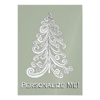 Modern Seasons Greetings Christmas Tree Magnetic Invitations