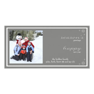 Modern Season's Greetings-gray Customised Photo Card