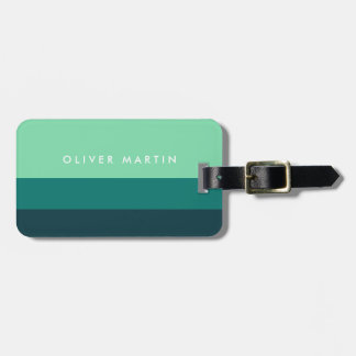 Modern Shades of Green and Teal Color Block Luggage Tag
