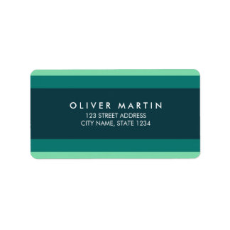 Modern Shades of Teal Green Color Block Address Address Label