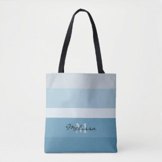 Modern shades of teal stripes monogram name tote bag
