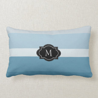 Modern shades teal blue stripes monogram family lumbar pillow