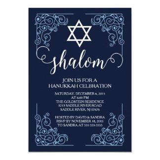 Modern Shalom Hanukkah Celebration Invitation