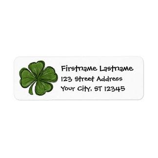 Modern Shamrock with return address Return Address Label