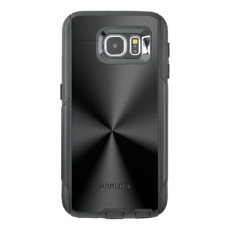 Modern Shiny Faux Black Metallic Stainless Look OtterBox Samsung Galaxy S6 Case