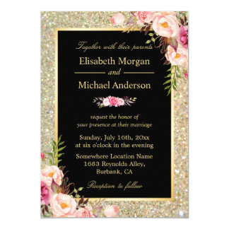 Modern Shiny Gold Sparkles Floral Wedding Invite