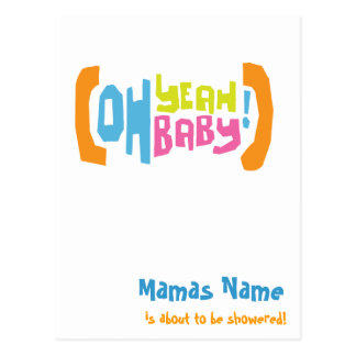 Modern Shower Invites - Oh Yeah Baby! Postcard