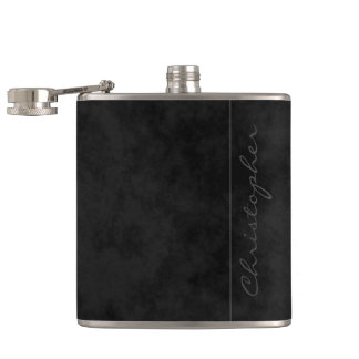 * Modern Signature Mottled Black Hip Flask