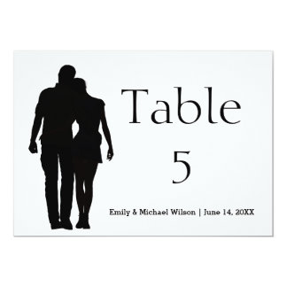 Modern Silhouette Couple - 5x7 Table Number Card