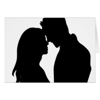 Modern Silhouette Couple - Thank You Note Card