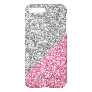 Modern Silver And Pink Glitter Geometric Design iPhone 8 Plus/7 Plus Case