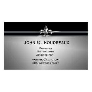 Modern Silver Black Fleur de Lis Double-Sided Standard Business Cards (Pack Of 100)
