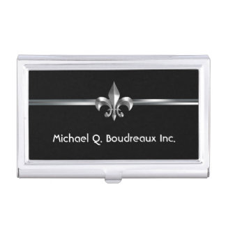Modern Silver Black Fleur de Lis Business Card Holder