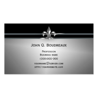 Modern Silver Black Fleur de Lis Pack Of Standard Business Cards