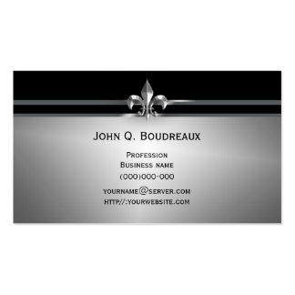 Modern Silver Black Fleur de Lis Pack Of Standard Business Cards