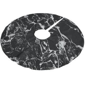 Modern silver black marble pattern brushed polyester tree skirt