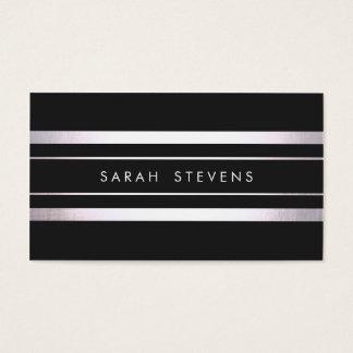 Modern Silver Black Striped Business Card