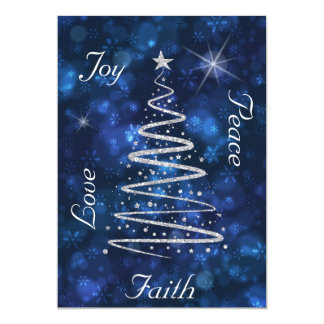 Modern Silver Christmas Tree Blue Photo Template Card