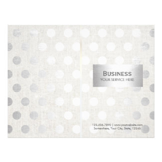 Modern Silver Dots Classy Linen Bi-Fold Brochures 21.5 Cm X 28 Cm Flyer
