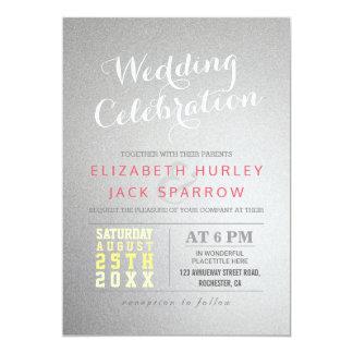 Modern Silver Foil Wedding Celebration Invitation