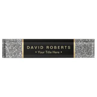 Modern Silver Glitter Elegant Black Label Name Plate