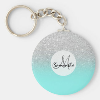 Modern silver glitter ombre teal ocean key ring