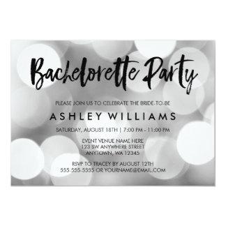 Modern Silver Lights Bachelorette Party Invitation