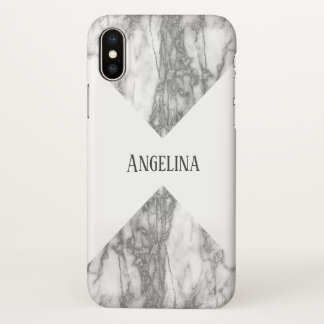 Modern Silver Marble Monogram iPhone X Case