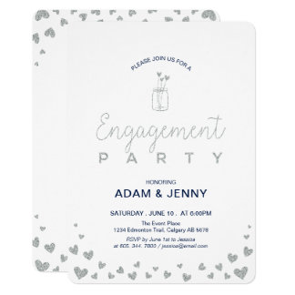 Modern Silver & Navy Engagement Party Invitation