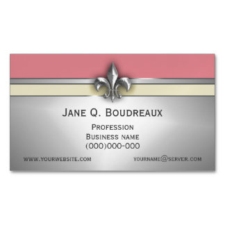 Modern Silver Pink Yellow Fleur de Lis Magnetic Business Cards