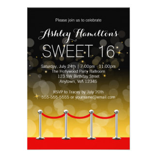 Modern Silver Red Carpet Hollywood Sweet 16 Personalized Announcements