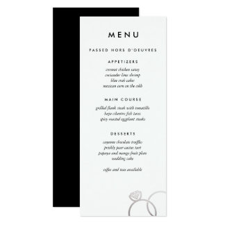 Modern Silver Rings Custom Wedding Menu Card