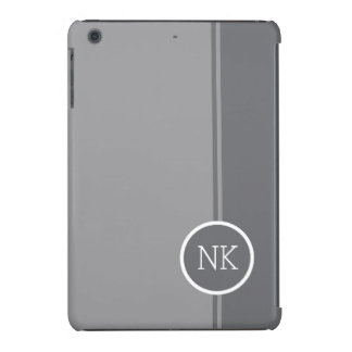 Modern silver round circle Monogram iPad Mini Cases
