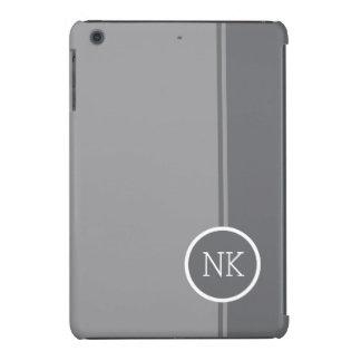 Modern silver round circle Monogram iPad Mini Cases