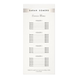 Modern Silver Striped Salon White Price List Menu Personalised Rack Card