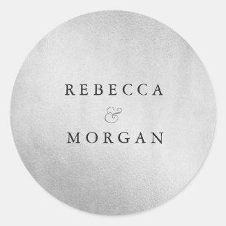 Modern Silver Wedding Couple Name Sticker