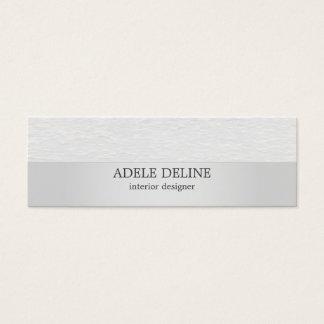 Modern Silver White Texture Interior Designer Mini Business Card