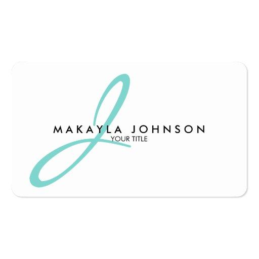 Modern & Simple aqua blue Monogram Professional Business Card Template