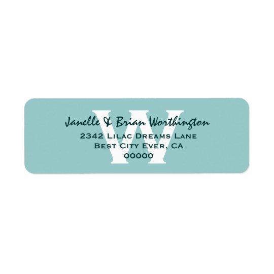 Modern Simple Aqua Monogram Wedding V09 Return Address Label