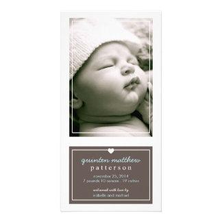 Modern Simple Baby Boy Birth Announcement Brown Custom Photo Card